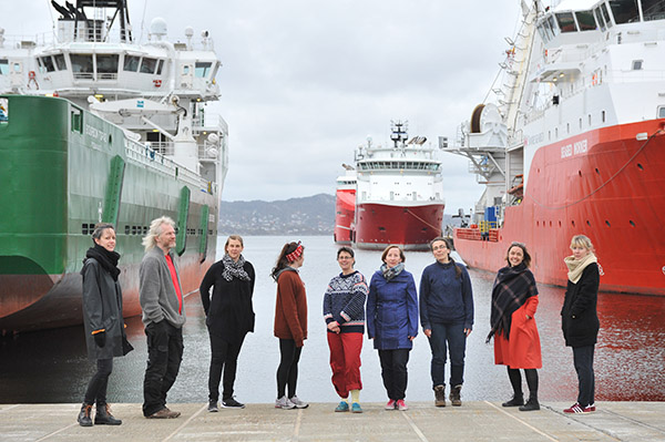 Participants at Bergen docks before departure.