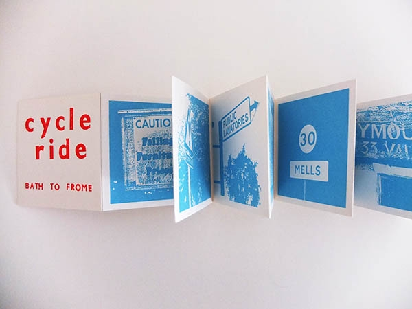 This documents the Sustrans bike route 24 from Bath to Frome, using images of signage along the way. Screen printed concertina book, 10 x 10 cm. Sold out.