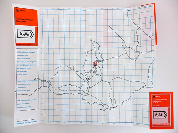 This is one is a series of iMiMAPS that were made for the Raffle Tickets and Midges project from the VARC residency in 2008. A screen printed cover contains a foldout map of all the paths and roads followed during a one year period in Northumberland. Edition of 13.
