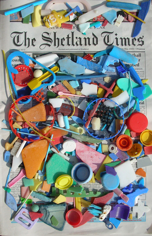 Work in progress: found plastic, newspaper