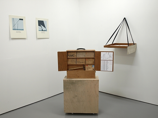 Complete with crate that has become part of the exhibition