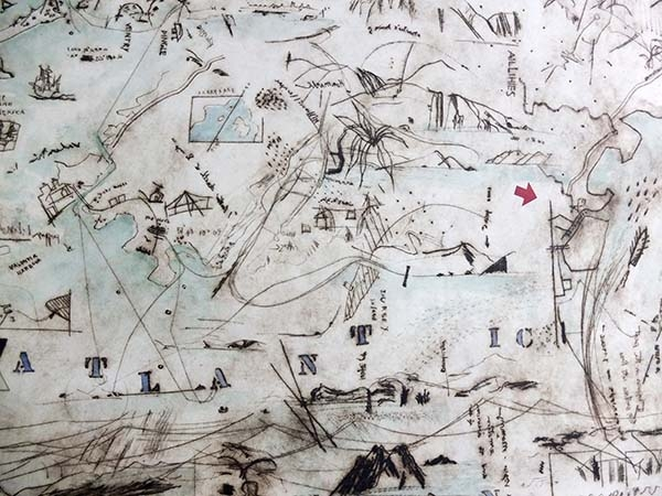 by David Lilburn, dry point etching over three metres long commissioned for Voyage.