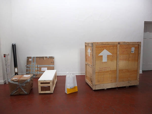 The works packed down into these crates (plus a few books that were sent before this images was taken!) impressively few crates for such a show!