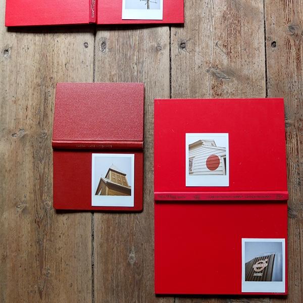 Utstillingen av 18 Polaroide bilder i loftet som var mitt studio /  Display of the 18 Polaroid images in the loft, which I had used as my studio during the residency.
